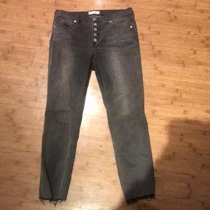 Free People Grey Cutoff Crop Jeans